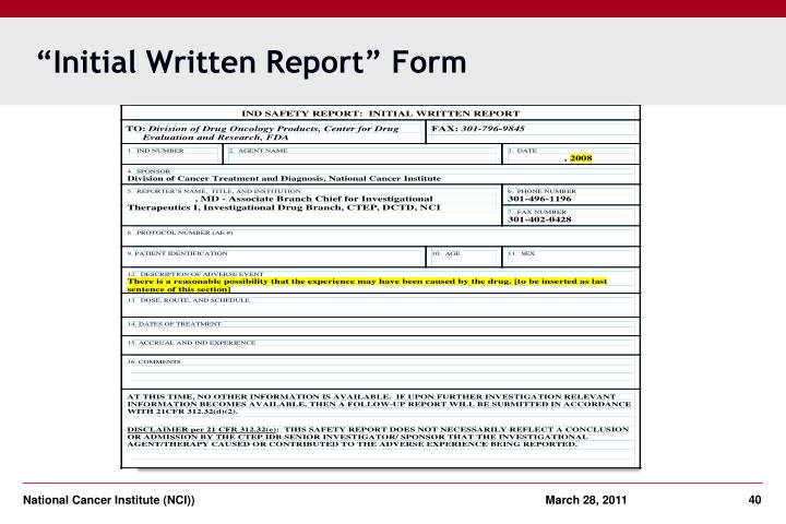 """Initial Written Report"" Form"