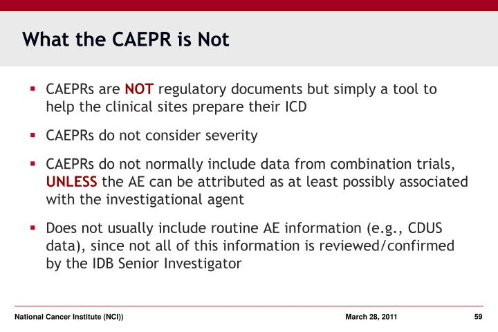 What the CAEPR is Not
