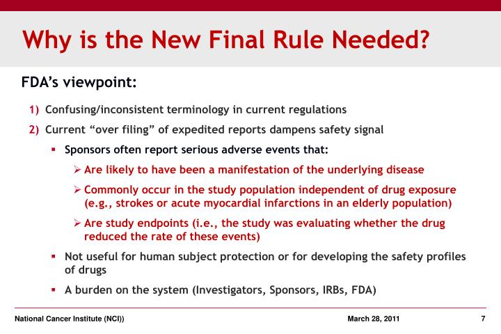 Why is the New Final Rule Needed?