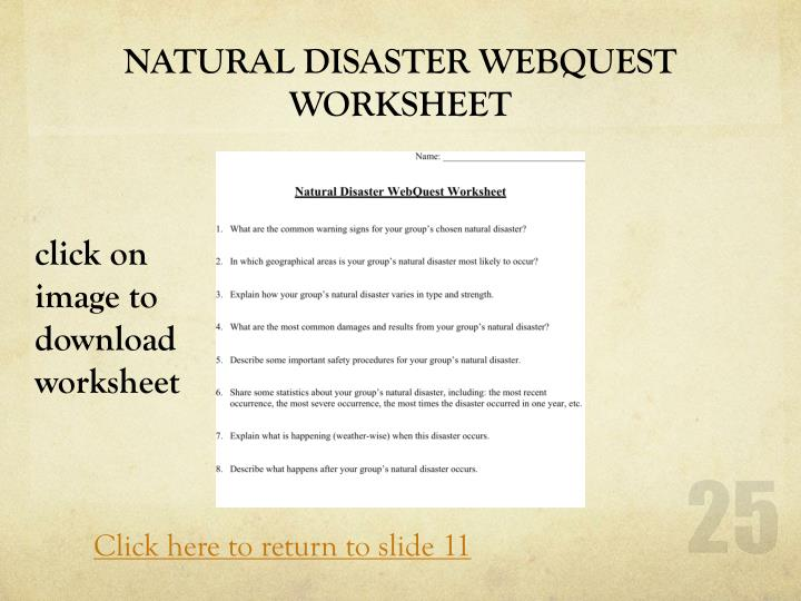NATURAL DISASTER WEBQUEST WORKSHEET