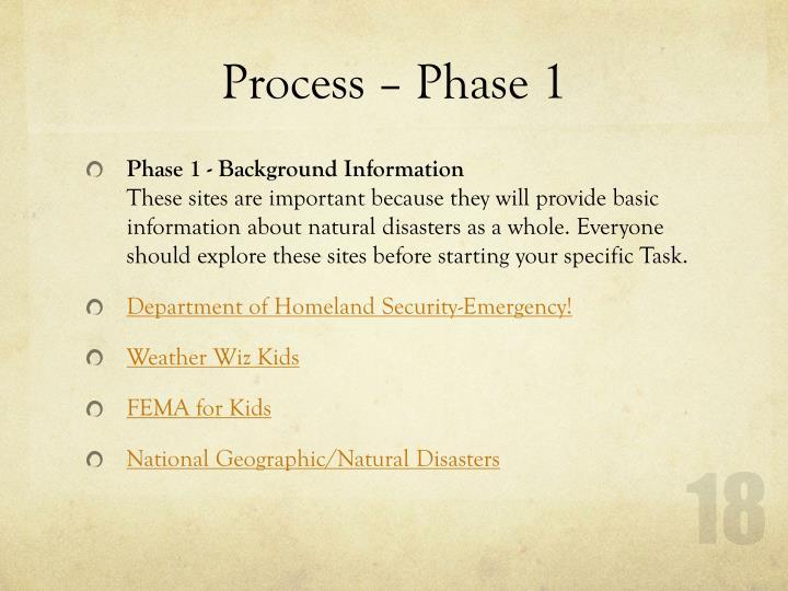 Process – Phase 1