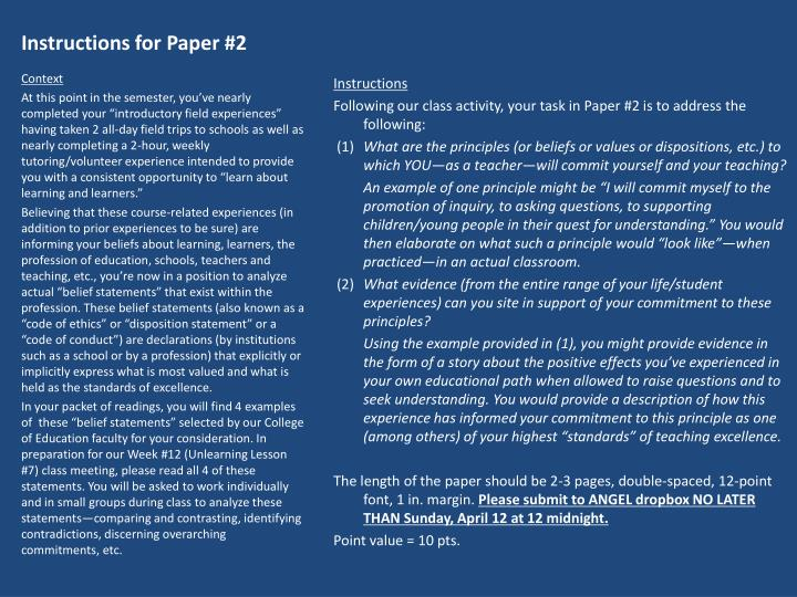 Instructions for Paper #2