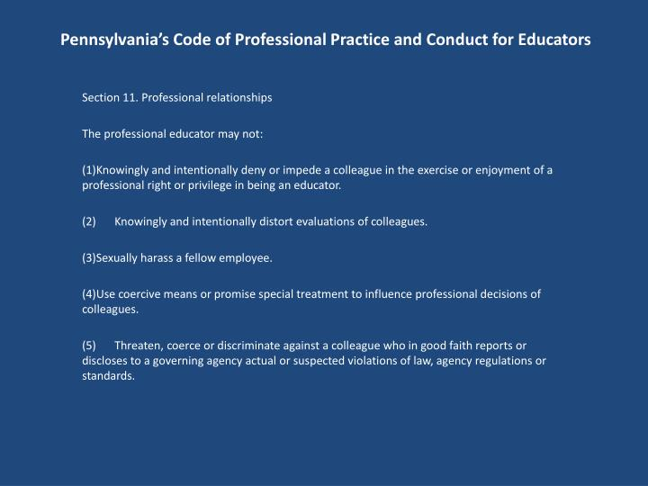 Pennsylvania's Code of Professional Practice and Conduct for Educators