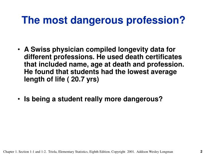 A Swiss physician compiled longevity data for different professions. He used death certificates that included name, age at death and profession.  He found that students had the lowest average length of life ( 20.7 yrs)