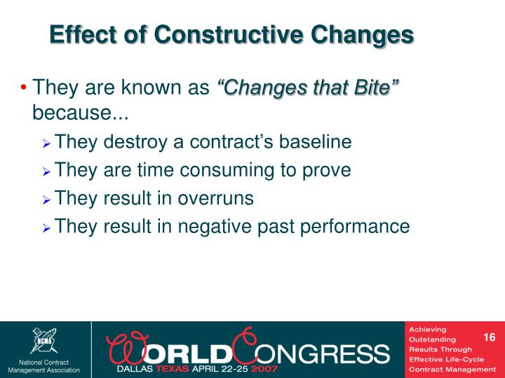 Effect of Constructive Changes