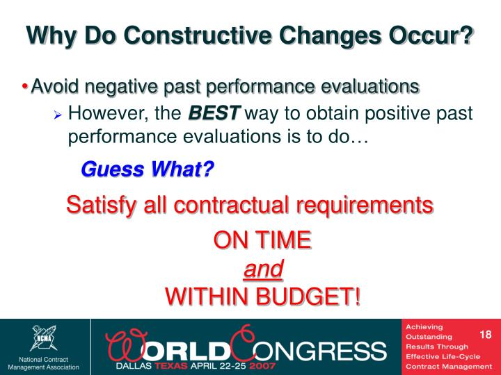 Why Do Constructive Changes Occur?