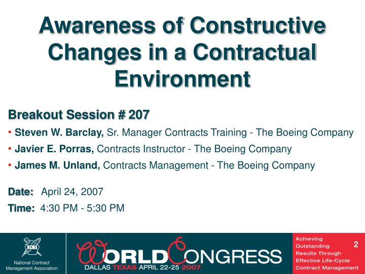 Awareness of Constructive Changes in a Contractual Environment