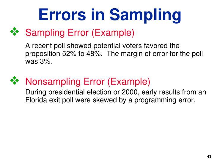 Sampling Error (Example)