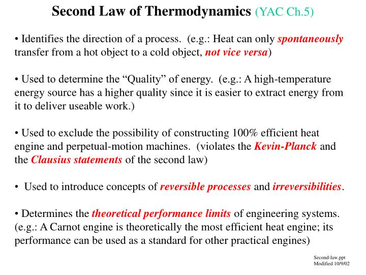 Second law of thermodynamics yac ch 5