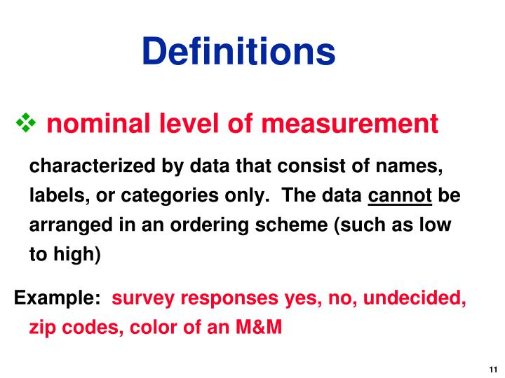 nominal level of measurement