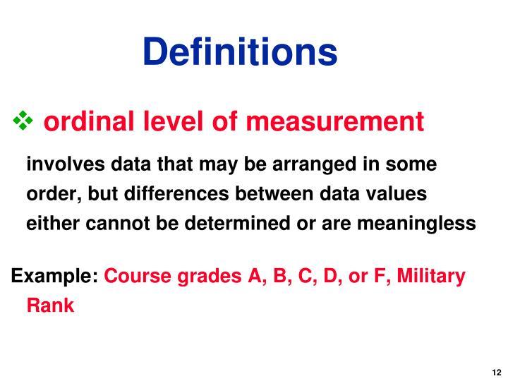 ordinal level of measurement