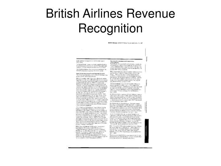 British Airlines Revenue Recognition