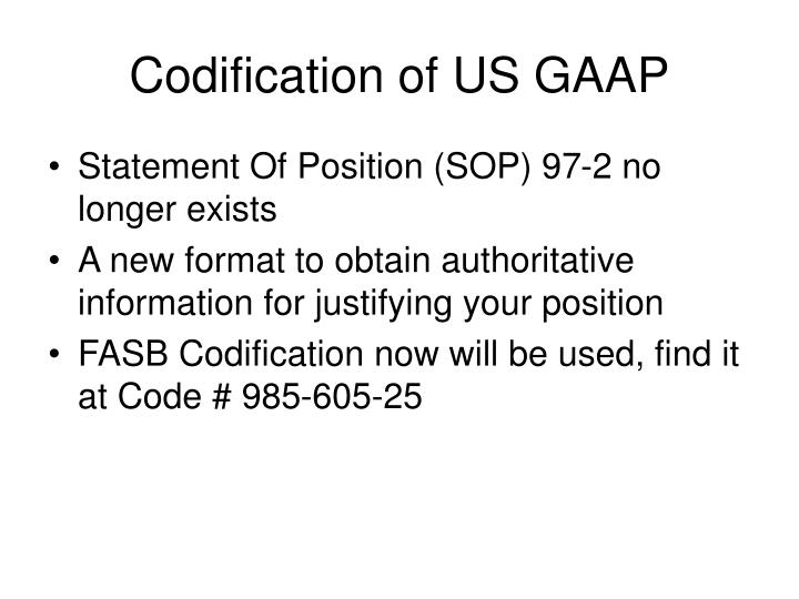 Codification of US GAAP