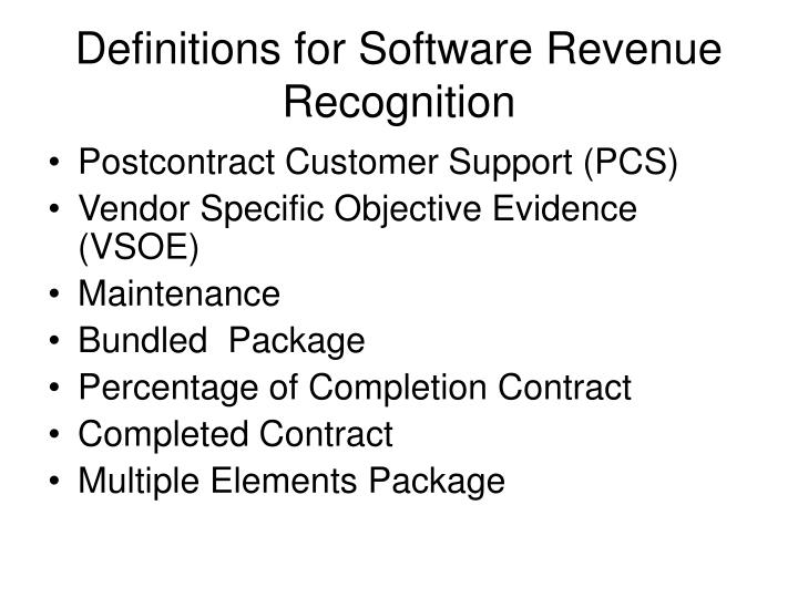 Definitions for Software Revenue Recognition