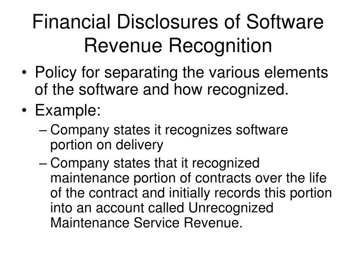 Financial Disclosures of Software Revenue Recognition
