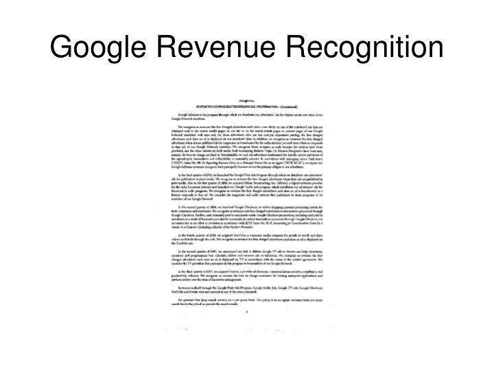 Google Revenue Recognition