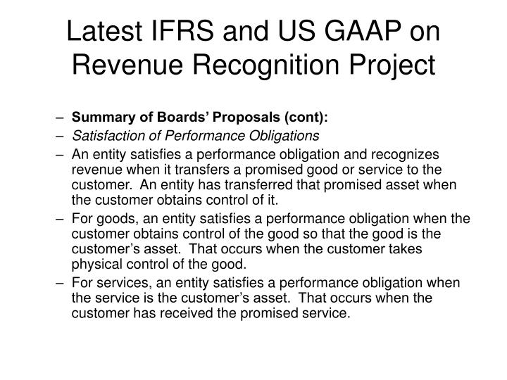 Latest IFRS and US GAAP on Revenue Recognition Project