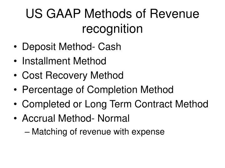 US GAAP Methods of Revenue recognition