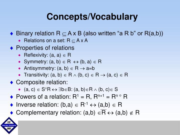 Concepts/Vocabulary