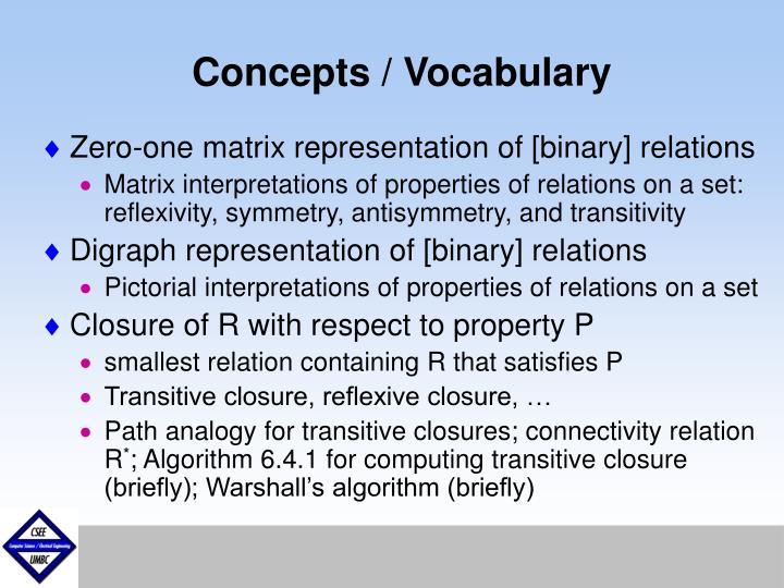 Concepts / Vocabulary