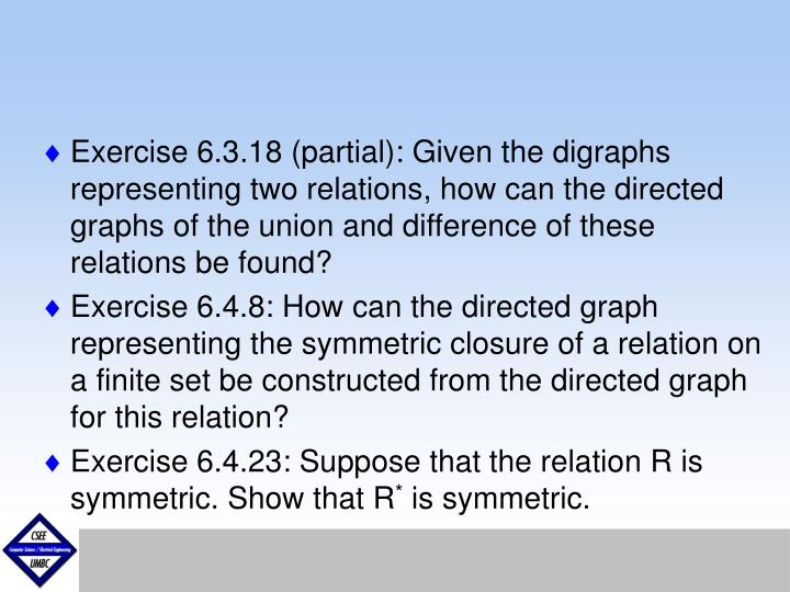 Exercise 6.3.18 (partial): Given the digraphs representing two relations, how can the directed graphs of the union and difference of these relations be found?