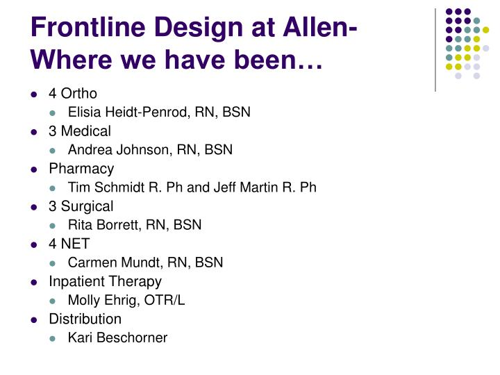Frontline Design at Allen-Where we have been…