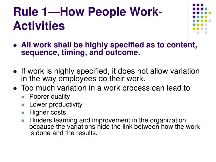 Rule 1—How People Work-Activities