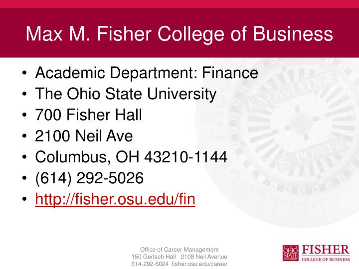 Max M. Fisher College of Business
