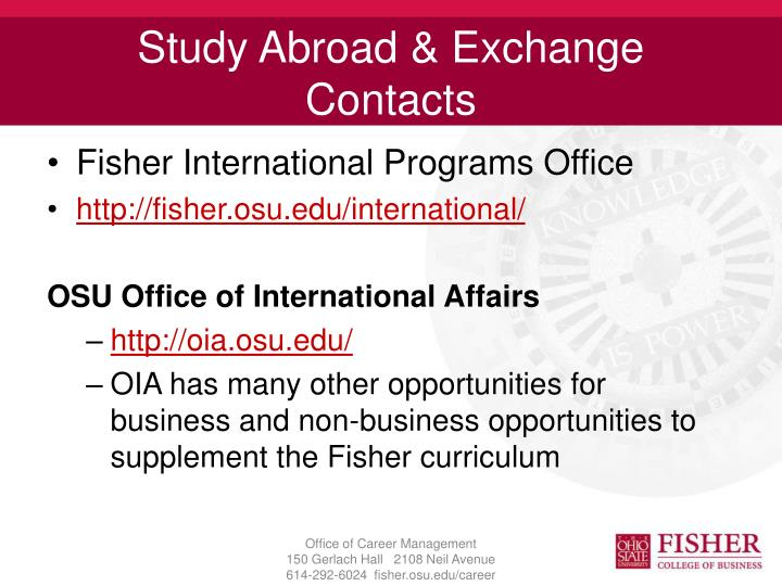 Study Abroad & Exchange Contacts