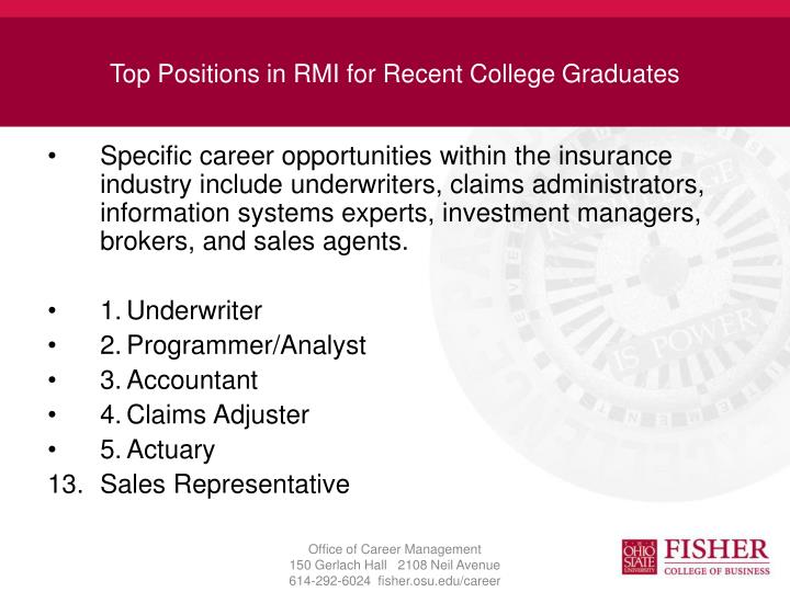 Top Positions in RMI for Recent College Graduates