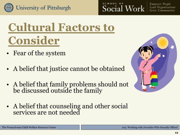Cultural Factors to Consider