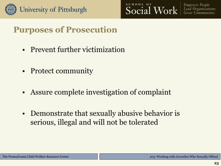 Purposes of Prosecution
