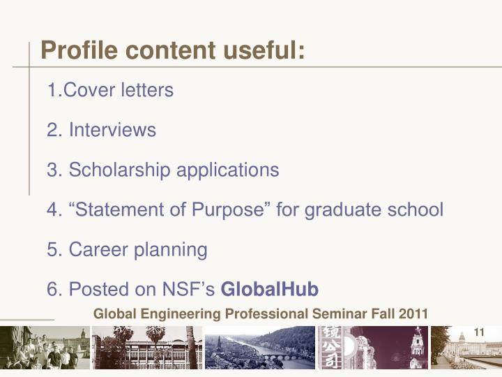 Profile content useful: