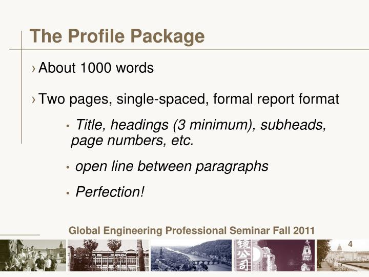 The Profile Package