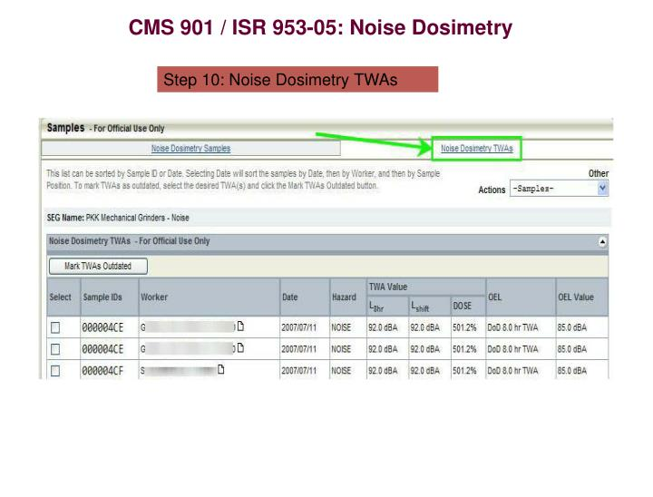 CMS 901 / ISR 953-05: Noise