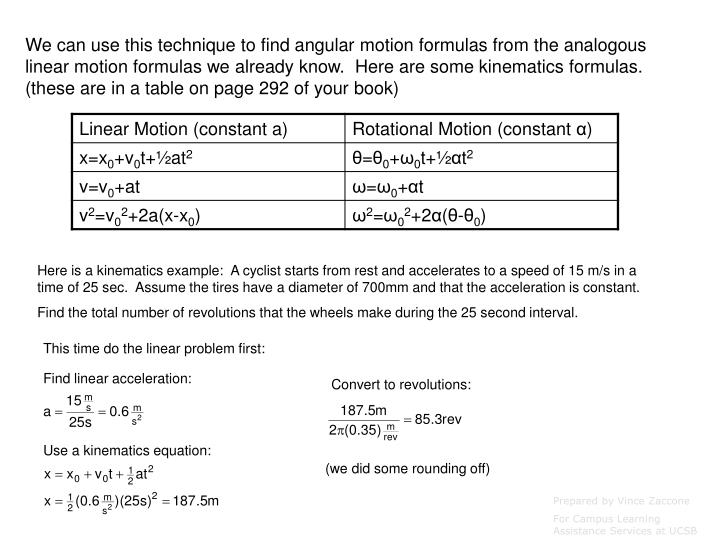 We can use this technique to find angular motion formulas from the analogous linear motion formulas we already know.  Here are some kinematics formulas. (these are in a table on page 292 of your book)