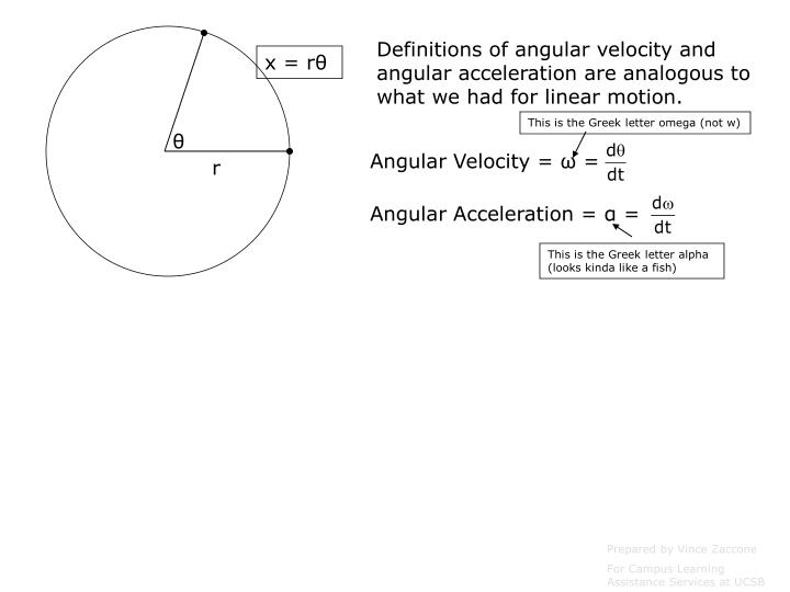 Definitions of angular velocity and angular acceleration are analogous to what we had for linear motion.