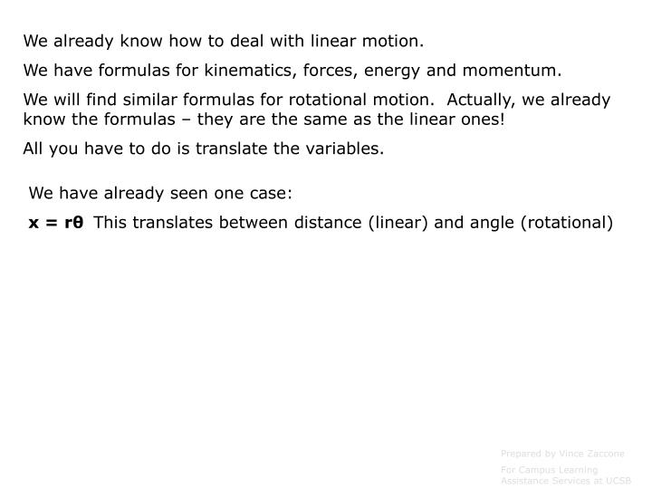 We already know how to deal with linear motion.