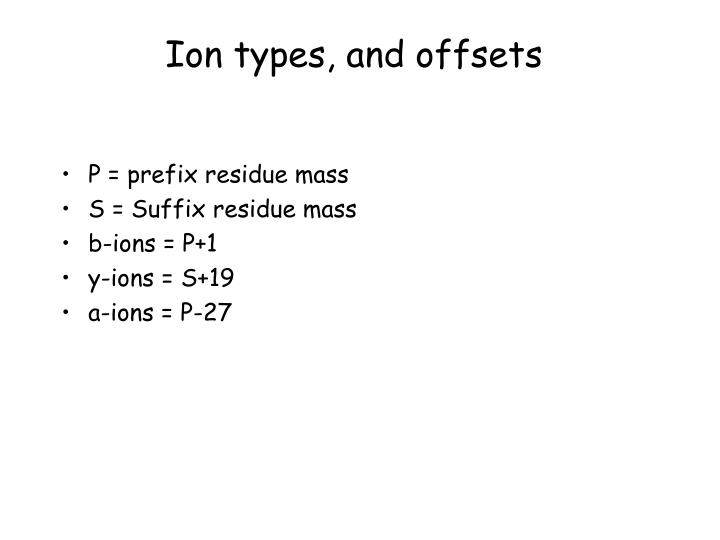 Ion types, and offsets