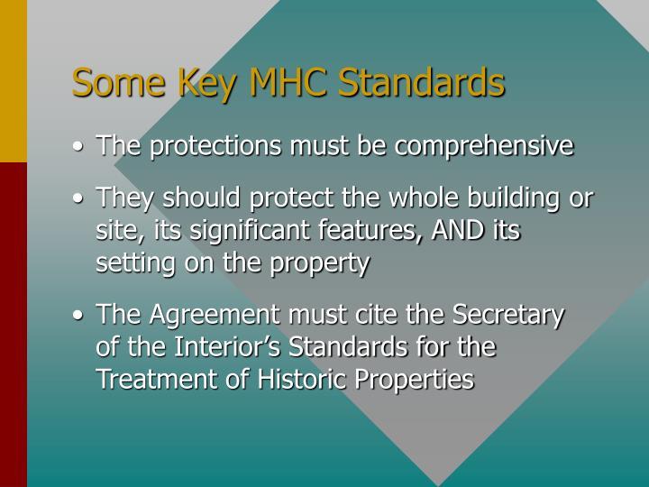 Some Key MHC Standards