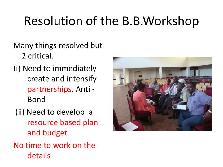 Resolution of the B.B.Workshop