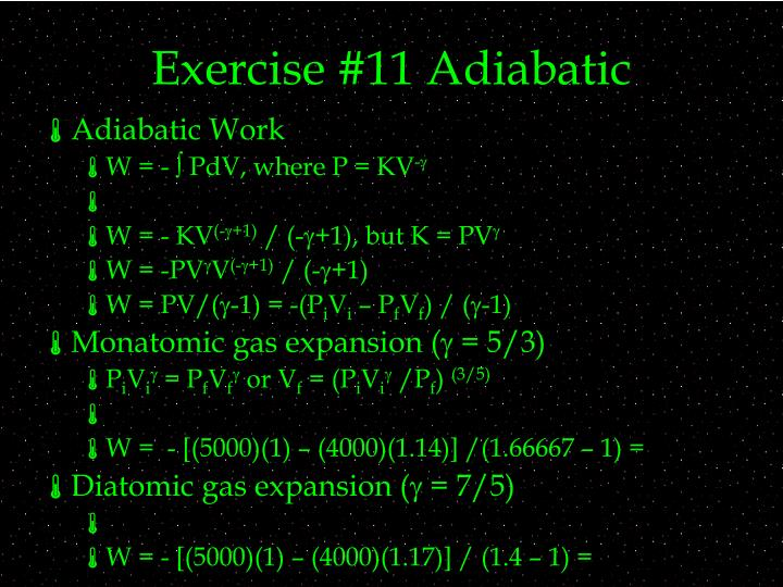 Exercise #11 Adiabatic