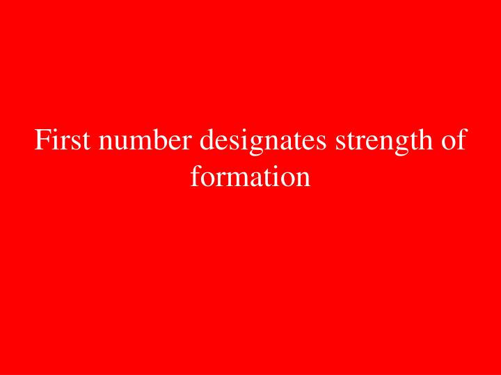 First number designates strength of formation