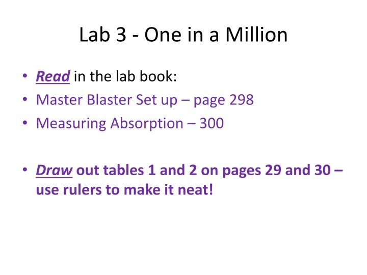 Lab 3 one in a million