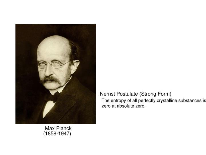 Nernst Postulate (Strong Form)