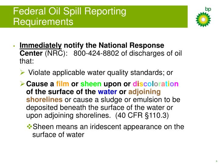 Federal Oil Spill Reporting Requirements