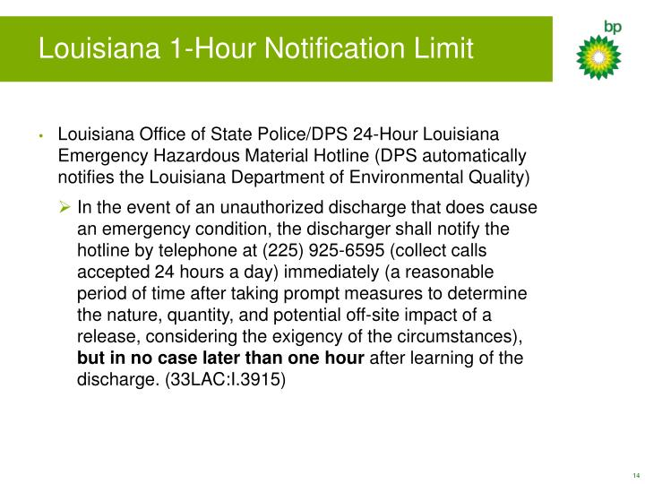 Louisiana 1-Hour Notification Limit