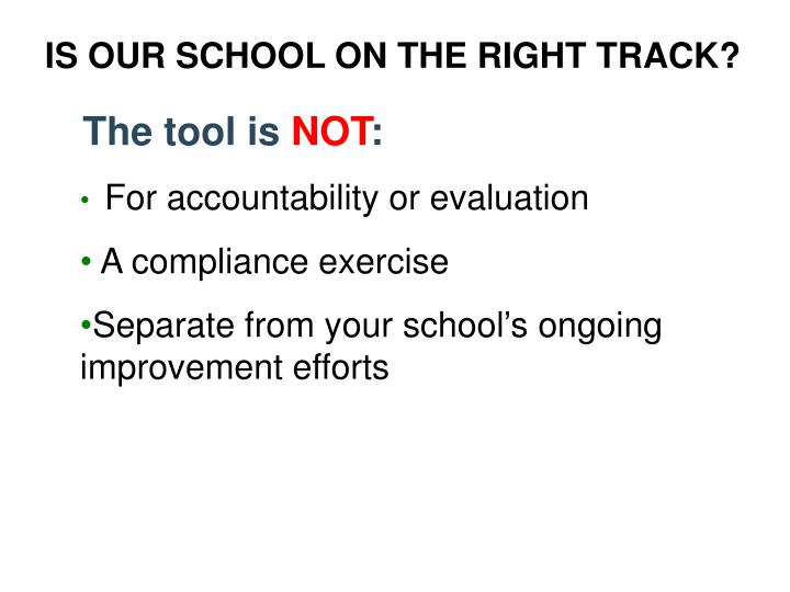 IS OUR SCHOOL ON THE RIGHT TRACK?