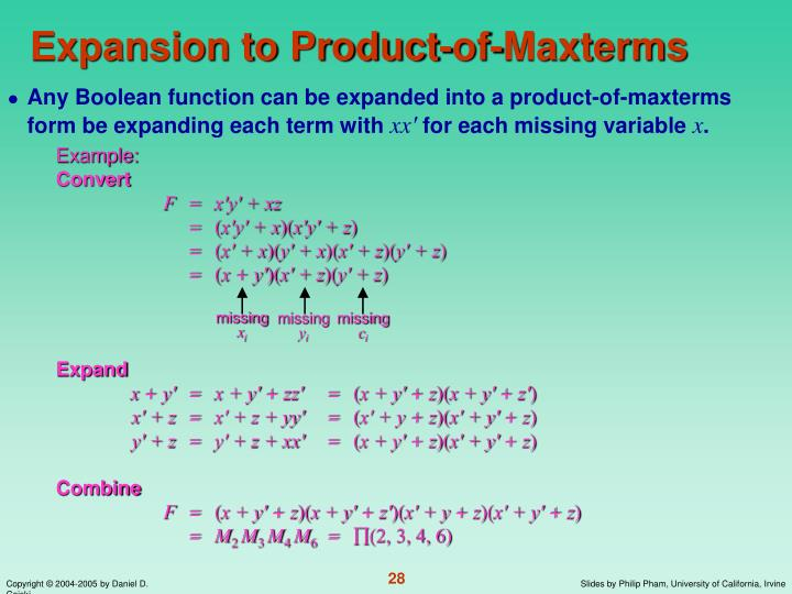 Expansion to Product-of-Maxterms