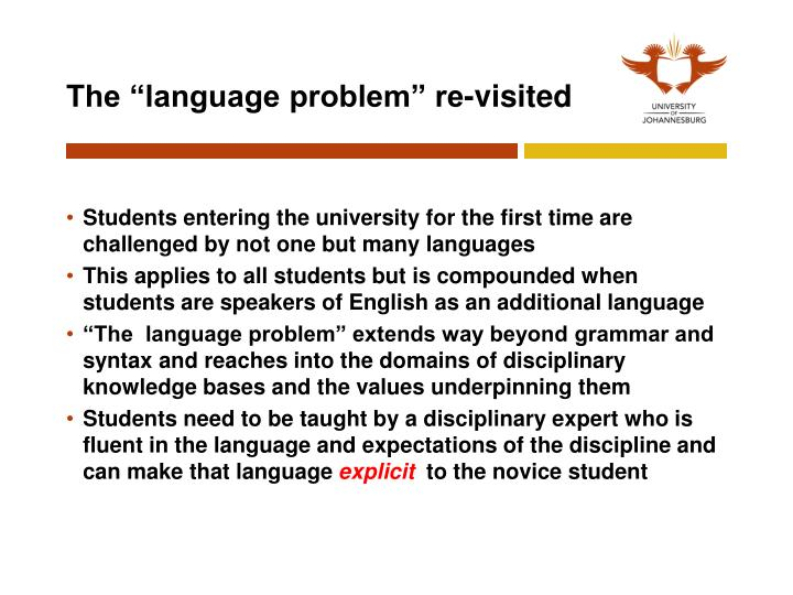 "The ""language problem"" re-visited"